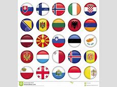 European Buttons Round Flags Stock Photography Image