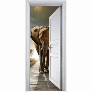 Deco Porte Interieure En Trompe L Oeil : sticker porte trompe l 39 oeil el phant 90x200cm art d co stickers ~ Carolinahurricanesstore.com Idées de Décoration