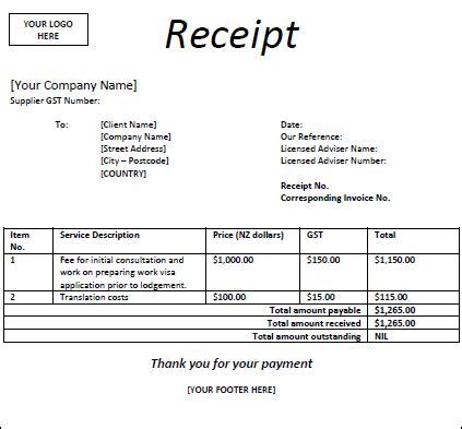 receipts iaa