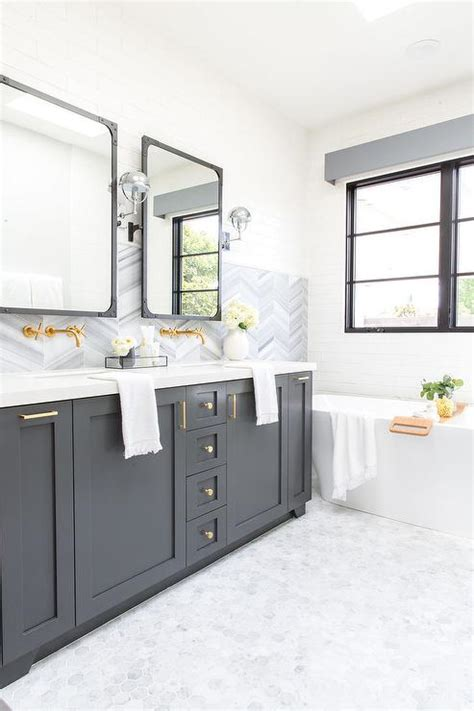 charcoal gray double bath vanity  white marble hex