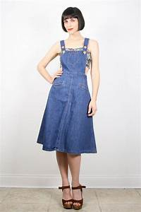 Vintage Overalls Dress Open Back Overall Jean Jumper Midi Dress Hippie Dress Jumper Dress ...