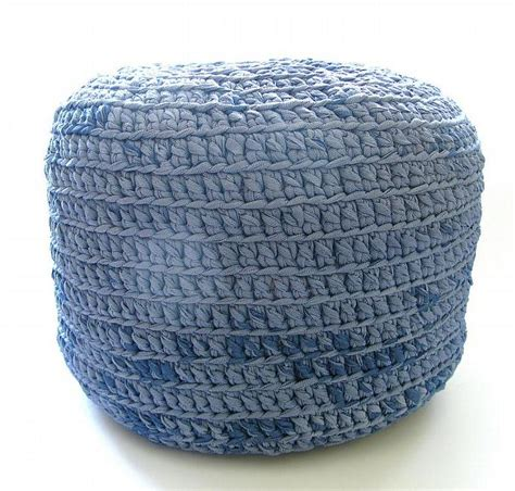 Crocheted Pouf Ottoman, Foot Stool, Floor By