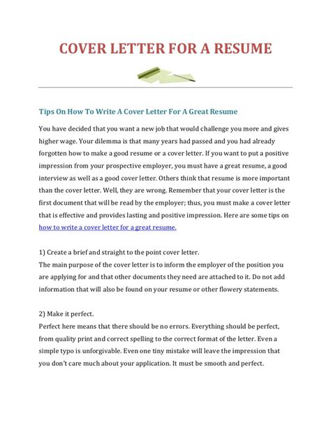 A Resume by How To Write A Cover Letter For A Resume