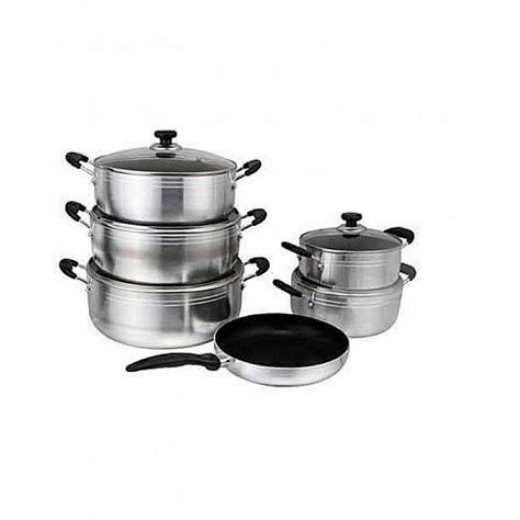 beulah  piece  stick cooking pots silver jumia