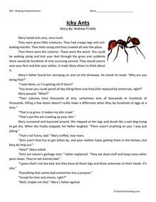 free third grade reading comprehension reading comprehension worksheet icky ants