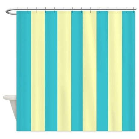 retro blue and yellow stripes shower curtain by