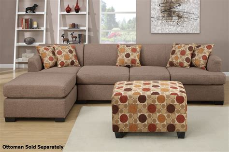 furniture sectional sofa poundex montreal iii f7966 f7968 beige fabric sectional