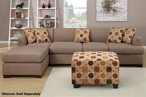 Poundex montreal iii f7966 f7968 beige fabric sectional for Sectional sofa bed montreal