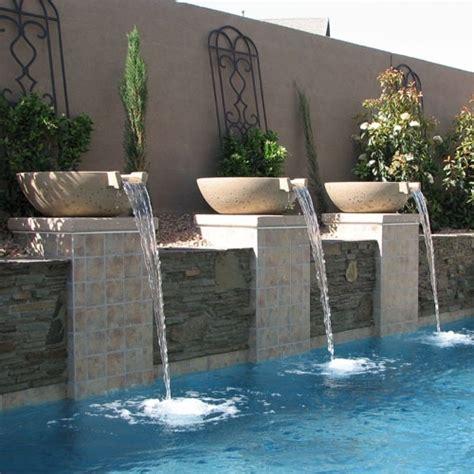 concrete scupper pool water pots arizona pottery