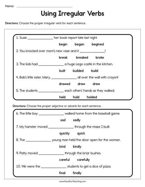use irregular verbs worksheet teaching