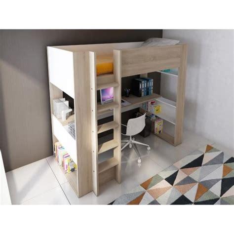 bureau console pas cher lit mezzanine noah avec bureau et rangements intégrés