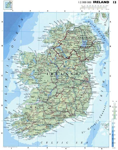 Ирландия карта физическая