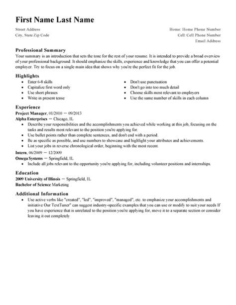 Standard Cv by Standard Cv Template And Writing Guidelines Livecareer