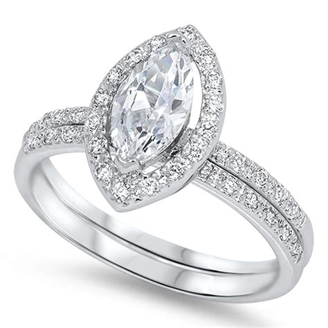 sterling silver engagement ring wedding band bridal marquise cz sizes 5 10 ebay