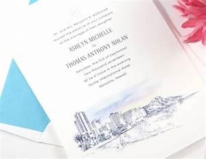 Hawaii skyline destination wedding invitations for Wedding invitations honolulu hawaii