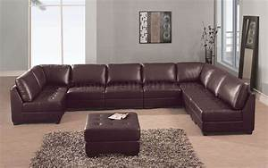Brown leather 8 pc modern sectional sofa w tufted seats for Sectional sofa seats 8