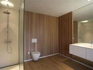 habillage bois mur salle de bain mzaolcom With habillage mural salle de bain