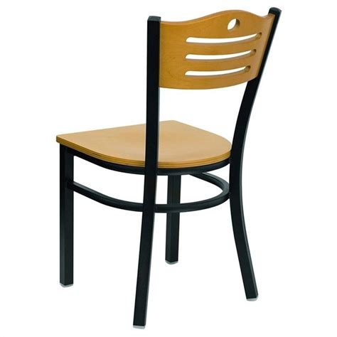 black slat back metal restaurant dining chair xu dg 6g7b