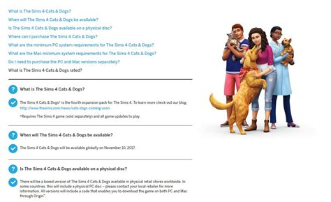 sims  cats dogs official faq