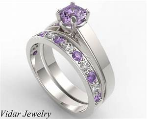 unique alternating purple amethyst diamond wedding ring With amethyst diamond wedding ring set