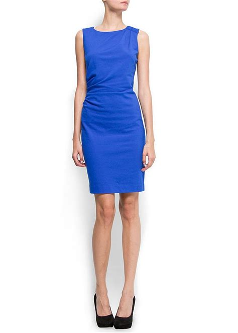 mango kleid aus geripptem strickjersey blue blaues