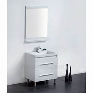 meuble salle de bain blanc tahoma 600 adeonna With meuble salle de bain blanc et gris
