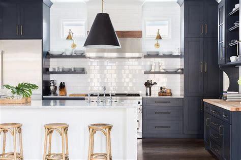 Alyssa Rosenheck Dark Blue Shaker Kitchen Cabinets With