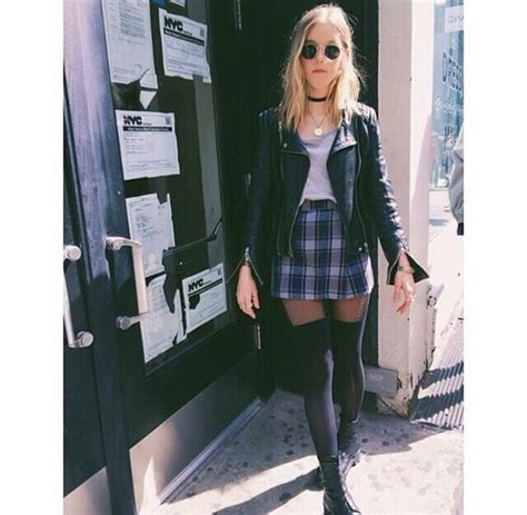 Blouse girly outfits tumblr plaid choker necklace 90s grunge leather jacket black skirt ...