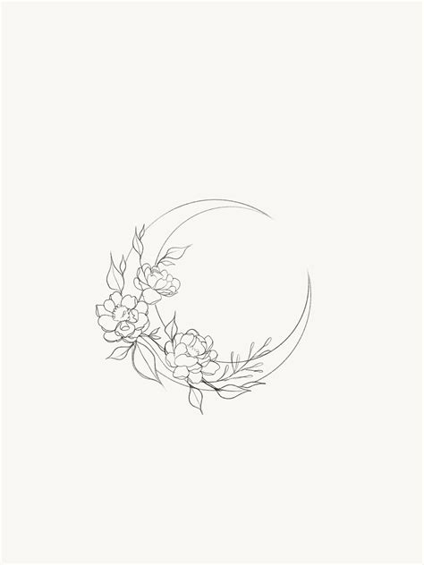 Looking for a floral sun drawing/sketch counterpart to the moon in the picture | Tattoos