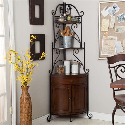 corner bakers rack with cabinet corner bakers rack storage cabinet wrought iron pantry
