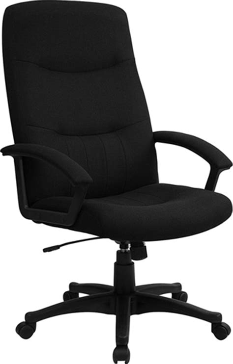 black fabric upholstered high back executive swivel office