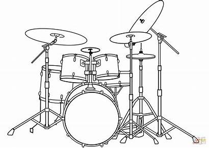 Drum Coloring Kit Pages Drawing Sketch Bass