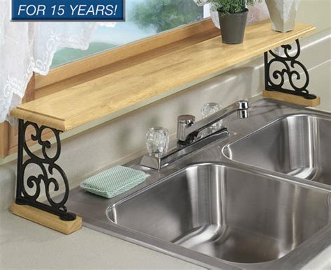 Solid Wood & Iron Kitchen Bathroom Counter Over The Sink