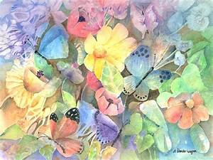 Butterfly Garden Painting by Arline Wagner