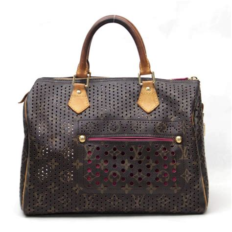 auth louis vuitton monogram perforated speedy  handbag pink   ebay