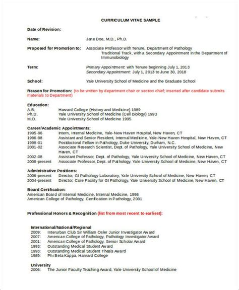 Convert Academic C V To Resume by Cv Template Academia 1 Cv Template Curriculum Vitae