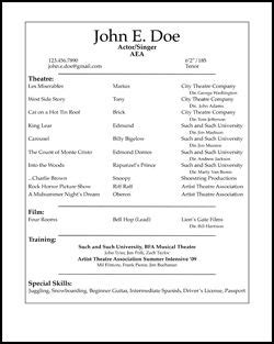 High School Theatre Resume by High School Acting Resume Template Http Www