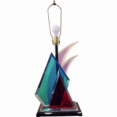 Modern Lamp Sculptural Lucite Colorful Modernism Lamps