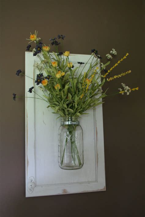 wall hanging mason jar vase  recycled wood cabinet door