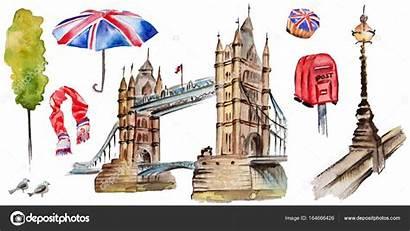 London Watercolor Illustration Britain Drawn Symbols Hand