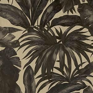 Papier Peint Noir Et Doré : papier peint darcy vinyle sur intiss motif tropical noir et dor en 2019 cuisine papier ~ Melissatoandfro.com Idées de Décoration