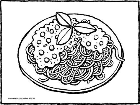 Kleurplaat Spaghetti Eten by Koken En Bakken Kleurprenten Kiddikleurprenten