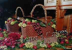 picnic basket overflowing  grapes  strawberries