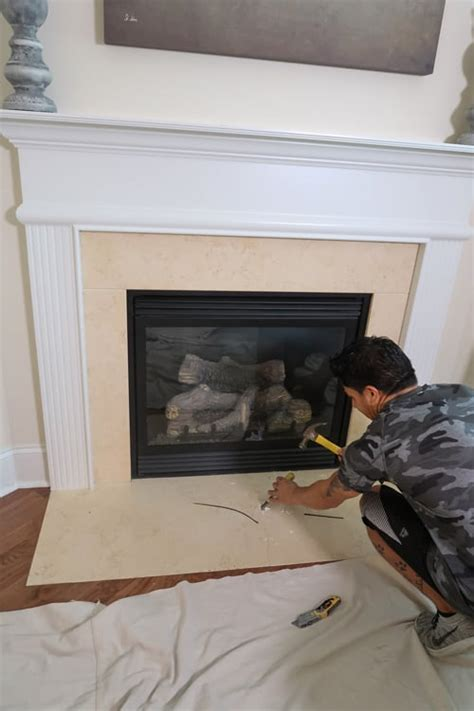 tile   marble fireplace surround porch