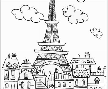 Tower Eiffel Coloring Pages Printable Paris Drawing