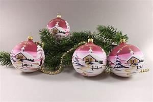Bilder Auf Glas Gedruckt : edelste handgefertigte weihnachtsbaumkugeln mit winterlandschaft in wei rot christbaumkugeln ~ Indierocktalk.com Haus und Dekorationen