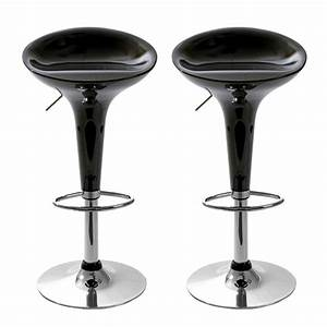 Tabouret De Bar Jazz Noir Lot De 2