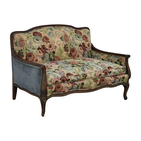 Floral Settee by 70 Antique Floral Upholstered Single Cushion