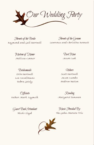 wedding program templates  wording program