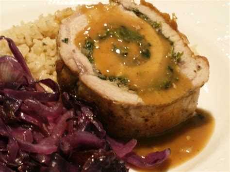 rolling  dice mushroom  spinach stuffed pork loin duncans creative kitchens
